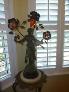 Antique Grand Art Nouveau French Figural Newell Post Lamp Signed