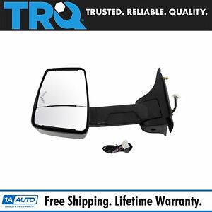 Trq Tow Mirror Power Heated Led Signal Smooth Black Driver Side Lh For Gm Van