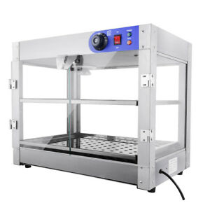 750w Countertop Food Warmer Case Commercial 2 tier Heating Holding Cabinets