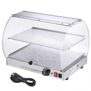 500w Curved Countertop Food Warmer Cabinet Commercial 2 tier Heating Cabinet