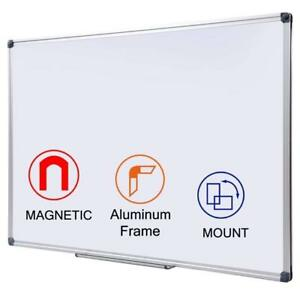 48 X 36 Inch Magnetic Dry Erase Board With Pen Tray Wall mounted A Luminum