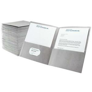 File ez Two pocket Folders Gray 125 pack Textured Paper Letter Size