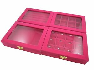 Hot Pink Velvet Glass Top Showcase Display Box Counter Jewelry Shop Presentation