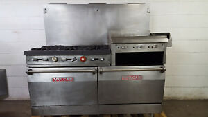 Vulcan 260l77r 6 Burner Flat Grill 2 Full Size Ovens Natural Gas Broiler Tested