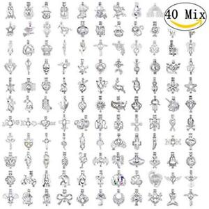 40pcs Mix Stainless Steel Tones Christmas Halloween Alloy Bead Cage Pendant Wish