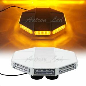 13 32w Led Emergency Beacon Warning Strobe Roof Top Mini Amber Light Bar Yellow