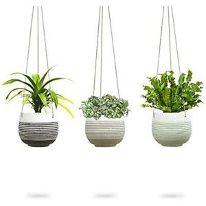 3 Pack Hanging Planter White Concrete Succulent Pots Round Air Plant Holder Cont