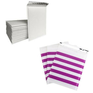 Any Size pack Purple Strip Poly Bubble Mailer Self Seal Padded Shipping Envelops
