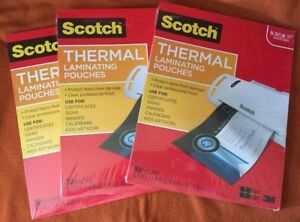 Scotch Thermal Laminating Pouches 50 Count Letter Size Sheets tp3854 50 New