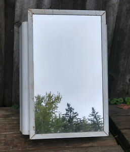 Vintage White Metal Art Deco Wall Mount Medicine Cabinet W Mirror