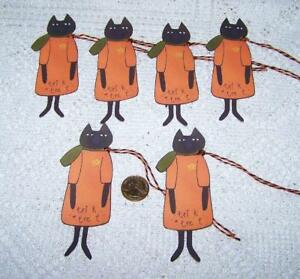 Halloween Primitive Cat Kitty Fall Paper Die Cut Linen Cardstock Gift Hang Tags