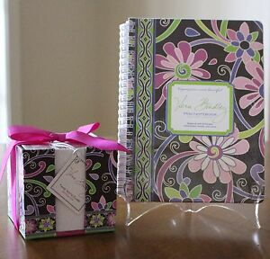Vera Bradley Purple Punch 2 Piece Set Note Cube Paper Mini Notebook Sealed