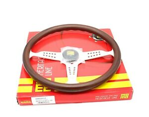 Momo Grand Prix Steering Wheel Heritage Mahogany Wood Silver Spokes 350mm New