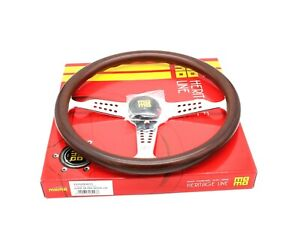 Momo Steering Wheel Heritage Super Grand Prix Mahogany Wood Chrome Spokes 350mm
