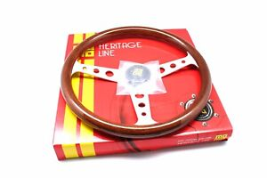 Momo Steering Wheel Heritage Indy Mahogany Wood Silver Spokes 350mm New