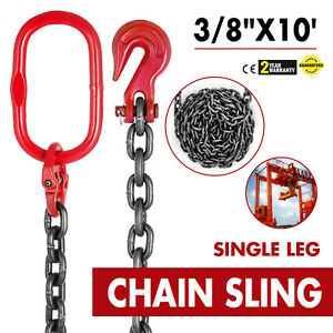 3 8 X 10 Grade 80 Chain Sling Sog Single Leg Grab Hooks Lifting Rigging