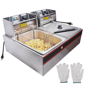 12l Electric Countertop Deep Fryer Dual Tank Commercial 2x2500w Stainless Steel