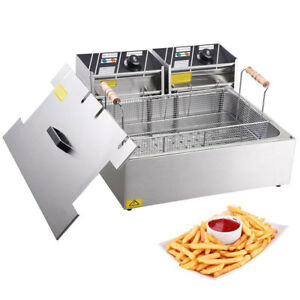 20l Electric Deep Fryer Dual Tank With Drain Commercial 5000w Stainless Steel