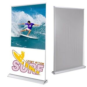 Exhibition Display Rear Projector Screen Retractable Banner Stand 47 x78