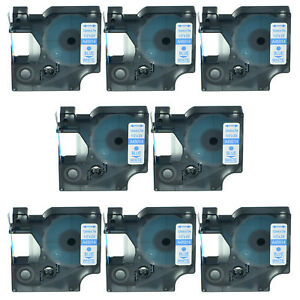 8pk 45014 Blue On White Label Tape 12mm For Dymo D1 Labelpoint 350 Label Maker