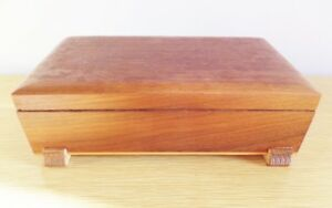 Vintage Small Wooden Jewelry Box Claw Foot Brass Hinges Pencil Treasure Box 1950