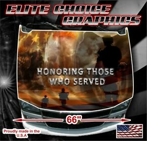 Military Honor Vets Flag Reaper Vinyl Hood Wrap Bonnet Decal Sticker Graphic