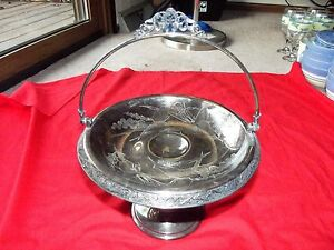 Pedestal Brides Basket Compote Meriden Co 1803 Quadruple Silverplate Victorian