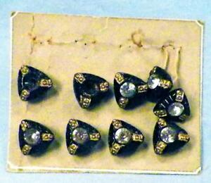 8 Antique Black Glass Buttons Silver Rhinestones Gold Paint Small Cards 8