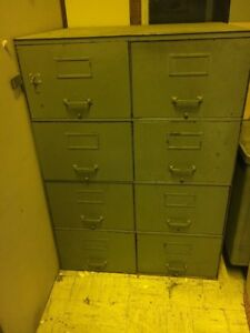 Vintage File Cabinet Steel Double Wide Legal Size 8 Drawer