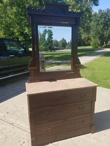 Antique Eastlake Wood Dresser With Mirror And Marble Top