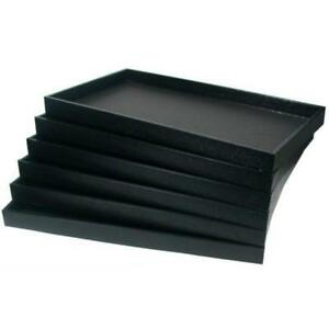 6 Black Faux Leather Display Travel Trays