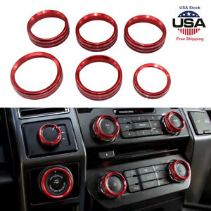 6x Red Decor Ring Cover Trim For Ford F150 16 18 Air Conditioner