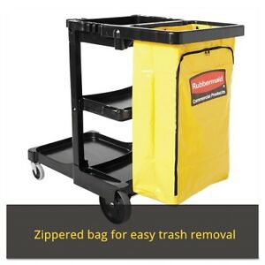 Rubbermaid Commercial Housekeeping Janitor Utility Cart 3 shelf Yellow Bag