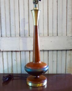 Vintage Danish Modern Mid Century Teak Brass Table Lamp