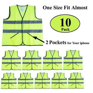 Cimc Yellow Reflective Safety Vest With Pockets 10 Pack Bright Construction