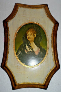 Vtg Italy Florentine Toleware Gold Gilt Wall Plaque Picture Hollywood Regency
