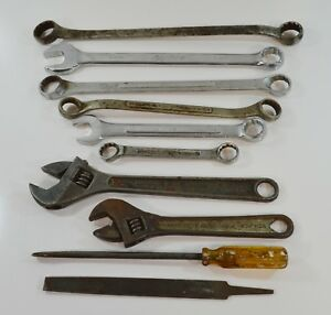 Lot Of 10 Vintage Wrenches Screwdriver File Open Closed End Diamond Vlchek Tools
