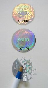 1000 Customized High Security Hologram Label Tamper Proof 1 Guilloche Stickers