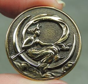 Brass Picture Button Lady Sitting On Crescent Moon W Owl Trident Metal