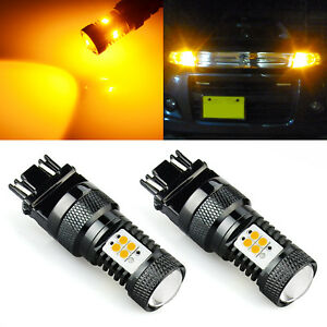 2x 3000k Amber Yellow 3157 14 smd Led Light Bulbs For Front Rear Turn Signal Car