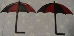 Lot Of 2 vintage Very Early Metal Umbrella Trade Signs