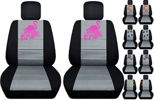Fits Ford Fiesta Front Car Seat Cover Black silver W frog cat owl dragonfly