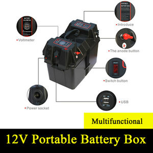 Multifunctional Battery Box With Voltmeter Guage Usb Charger For Car Boat Truck