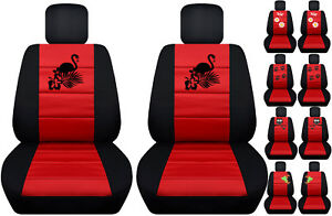 Fits Ford Fiesta Front Car Seat Cover Black red W frog owl dragonfly flamingo