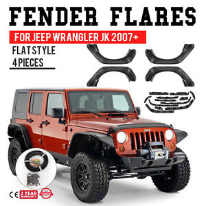 For 07 18 Jeep Wrangler Jk Flat Style Fender Flares W yellow Side Marker Lights