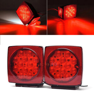 Pair Led Square Lights Trailer Under 80 Tail Brake Boat Stud Mount Stop Light