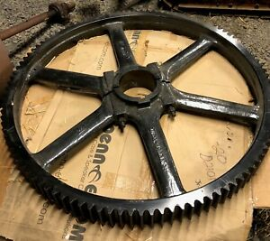 Antique Industrial Age Cast Iron Gear Sandblasted And Painted Approx 2 000 Lb