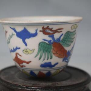 Old China Porcelain Ming Chenghua Doucai Contrasting Phoenix Cup