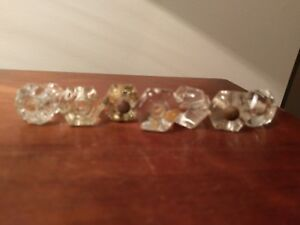 6 Clear Antique Vintage Glass Six Sided Drawer Dresser Cabinet Pulls Knobs