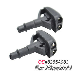 Pair Front Windshield Wiper Water Washer Jet Nozzle For Mitsubishi Pajero L200